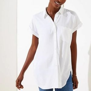 Loft White Short Sleeve Button Down Tunic Size XL